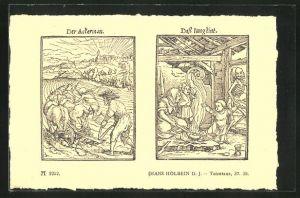 AK Der Tod begleitet den Bauern auf dem Feld, Der Tod holt das Kind aus dem Hause, Holbein d. J.