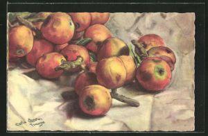 Künstler-AK Carlo Chiostri: Stilleben mit Äpfeln