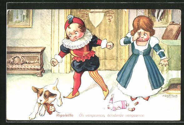 Künstler-AK A. Bertiglia: Rigiletto - Oh vengeance, éclatante vengeance, Scherz, Hund köpft Puppe
