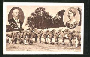 AK Circus Krone, Direktor Carl Krone und Gattin Ida, Elefanten