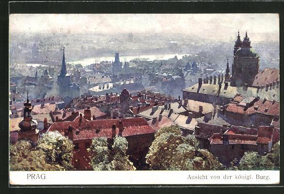 Künstler-AK Jaroslav Setelik: Prag, Ansicht von der königl. Burg