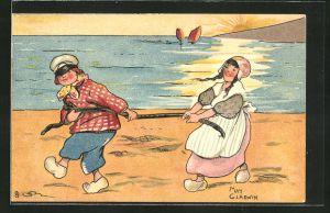 Künstler-AK sign. May Gladwin: Paar in niederländischer Tracht