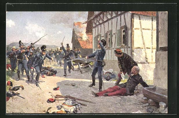 Künstler-AK Carl Becker: Gefangennahme eines franz. Generals durch bayer. Infanterie in Fröschweiler 1870