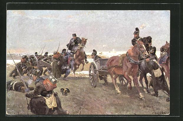 Künstler-AK Carl Becker: Oberleutnant Frhrr. von Stengel in der Schlacht bei Villepion 1870