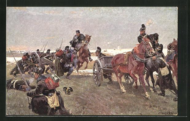 Künstler-AK Carl Becker: Heldentat des Oberleutnants Frhrr. von Stengel in der Schlacht bei Villepion 1870