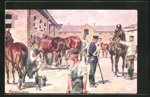Künstler-AK Carl Becker: Pferdeputzen, Kavallerie