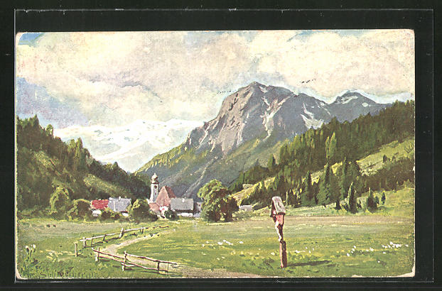 Künstler-AK August Splitgerber: Bergdorf in den Alpen