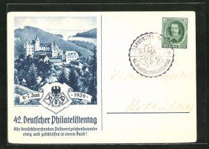 AK Lauenstein, 42. Deutscher Philatelistentag 1936, Blick zur Burg, Ausstellung