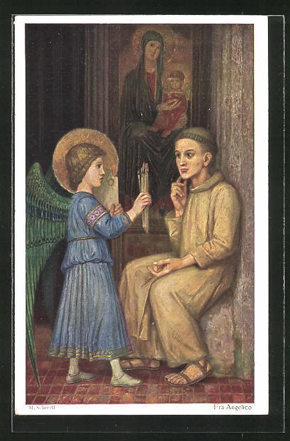 Künstler-AK Matthäus Schiestl: Fra Angelico, Engel gibt einem jungen Mann Pinsel vor Marienbild