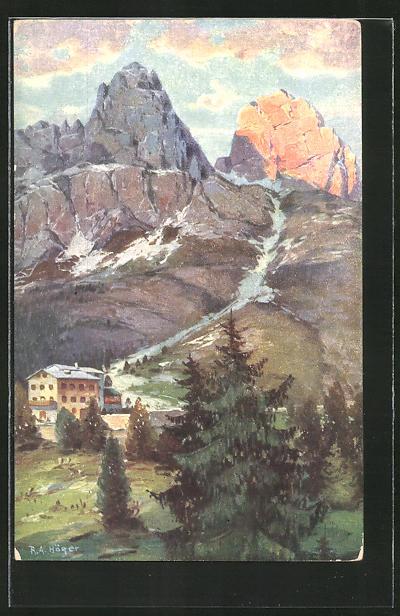 Künstler-AK Rudolf Alfred Höger: Von der Dolomitenstrasse in Tirol, Tre Croci gegen Monte Cristallo