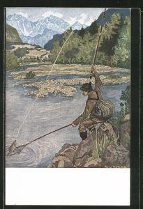 Künstler-AK Eugen Ludwig Hoess: Petri Heil! Angler fängt einen Fisch im Gebirge.