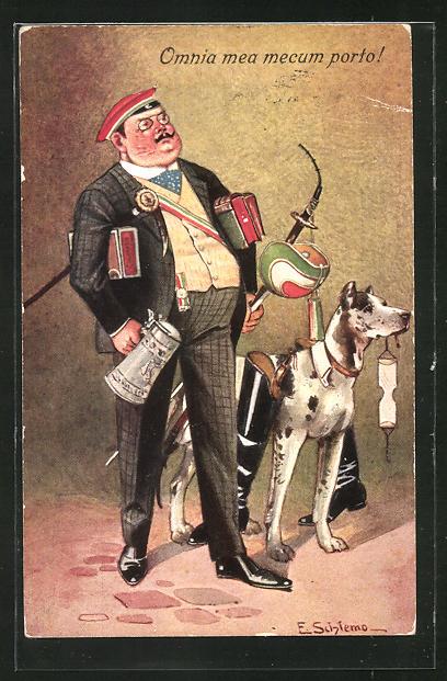 Künstler-AK Ernst Schlemo: Omnia mea mecum porto!, Soldat im Anzug mit Bierkrug und Hund