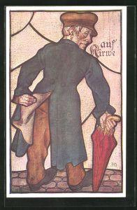 Künstler-AK Heinz Schiestl: Mann mit Schirm hebt seinen Mantel