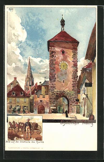 Künstler-AK Heinrich Kley: Das Schwabenthor Freiburg mit Teilansicht eines Bildes auf der Stadtseite des Thurms