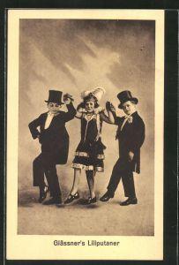 AK Glässner's Liliputaner, Drei Liliputaner in zeitgenössischer Kleidung tanzend