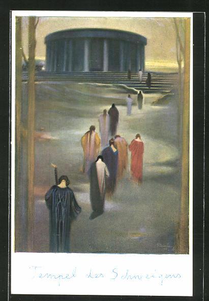Künstler-AK Ludwig Fahrenkrog: Der Tempel des Schweigens, Menschen auf dem Weg zum Tempel