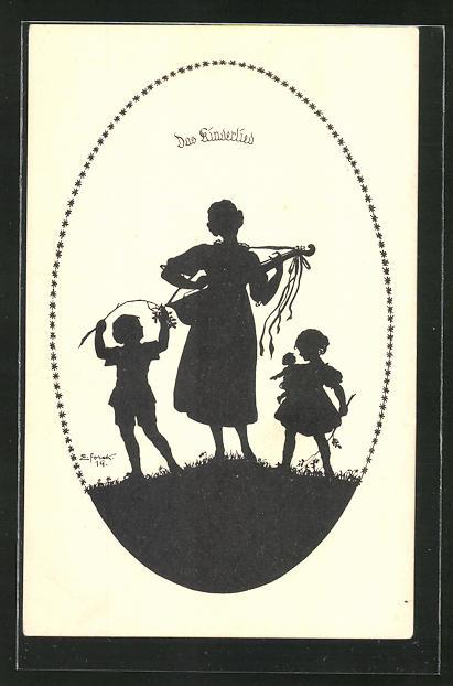 Künstler-AK Elsbeth Forck: Schattenbilder, III. Reihe, Lieder zur Laute, Das Kinderlied, Frau mit Kindern singt Lieder