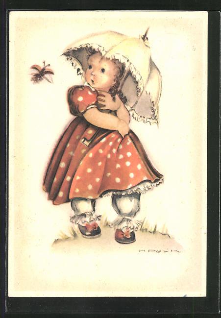 Künstler-AK Hilla Peyk: Kleines Mädchen im Kleid mit Schirm und fliegendem Käfer
