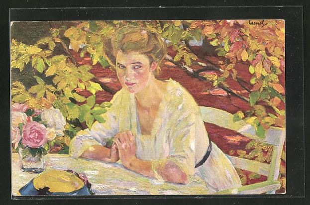 Künstler-AK Edward Cucuel: Herbstzauber, junge Dame
