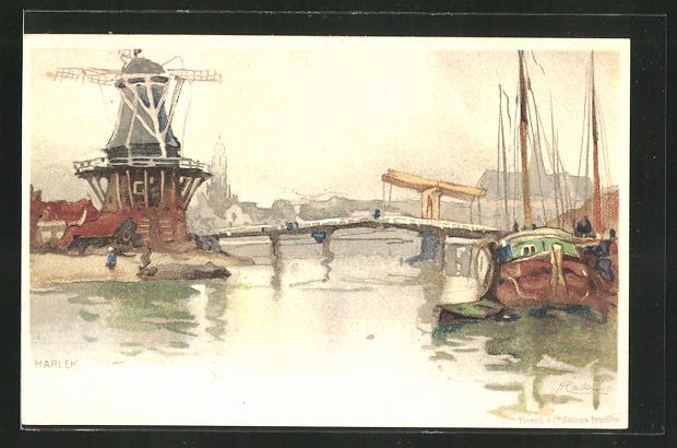 Künstler-AK Henri Cassiers: Harlem, Windmühle am Kanal
