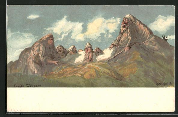 Künstler-Lithographie Rudolf Reschreiter: Familie Watzmann, Berge mit Gesicht / Berggesichter