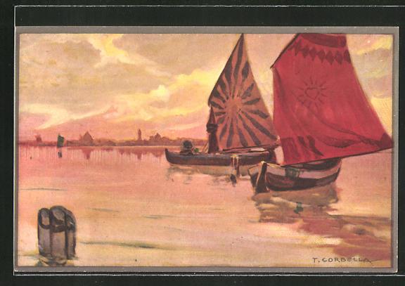 Künstler-AK Tito Corbella: Boote mit Seegeln auf einem See