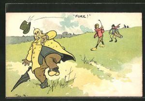 Künstler-AK Tom Browne: Mann schlägt einem anderen mit einem Golfball den Hut ab, Golf