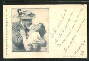 Künstler-AK Meggendorfer Blätter Nr.: Herr mit Alpenblume am Hut hat junge Frau im Arm