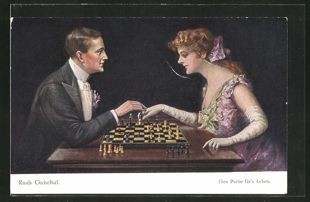 Künstler-AK Ruab Gnischaf: Eine Partie für's Leben, Dame und Herr bei einem Schachspiel