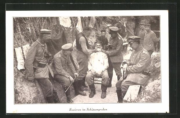 Ak Soldatenin Uniform Beim Rasieren Im Schützengraben Friseur Nr