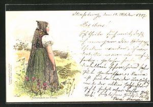 Lithographie Schonach, Frau in Schwarzwälder Tracht mit Kopfbedeckung