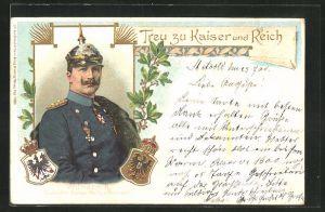 Lithographie Portrait Kaiser Wilhelm II.