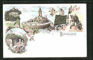 Lithographie Kyffhäuser-Denkmal mit Barbarossa und Reiterstandbild