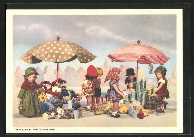 AK Käthe Kruse-Puppe auf dem Wochenmarkt