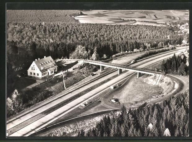 AK Autobahn-Rasthaus Heinrich Stumpf aus der Vogelschau