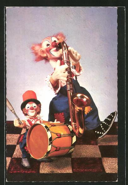 AK Steiff-Clowns mit Instrumeten