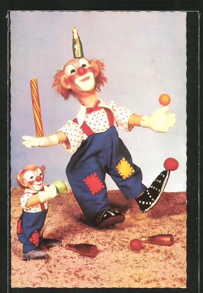 AK Steiff-Clowns mit Bällen