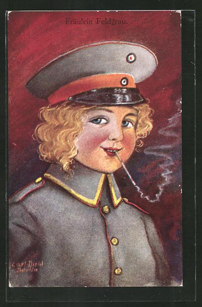 Künstler-AK Carl Diehl: junge Dame in Uniform mit Zigarette