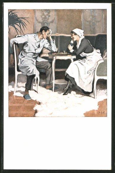 Künstler-AK Brynolf Wennerberg: Krankenschwester & Soldat beim Schach spielen