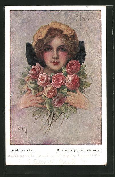 Künstler-AK Ruab Gnischaf: Blumen, die gepflückt sein wollen, Maid mit Rosen