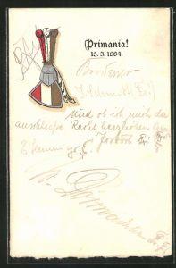 AK Studentenwappen und Ritterhelm, Primania!, 15. März 1884