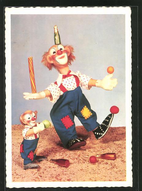AK Steiff-Clowns beim Jonglieren