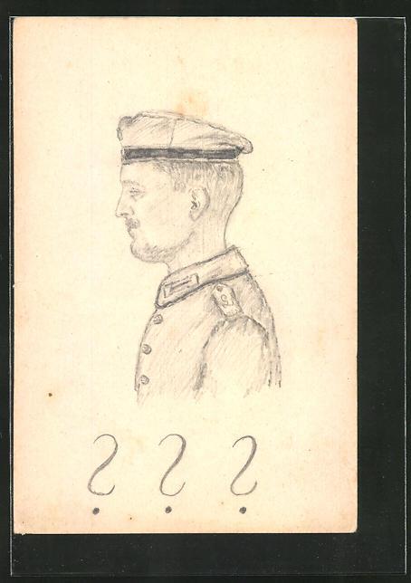 Künstler-AK Handgemalt: Profil-Portrait eines Soldaten in Uniform