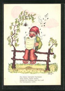 AK Zwerg sitzt auf einem Zaun und singt ein Lied