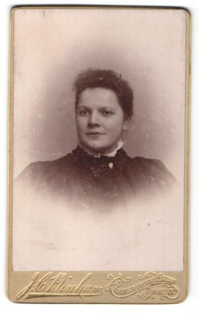 Fotografie J. C. Winham, Torquay, Portrait Dame mit zusammengebundenem Haar