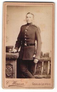 Fotografie C. Winzer, Leipzig-Gohlis, Portrait junger Soldat in Uniform