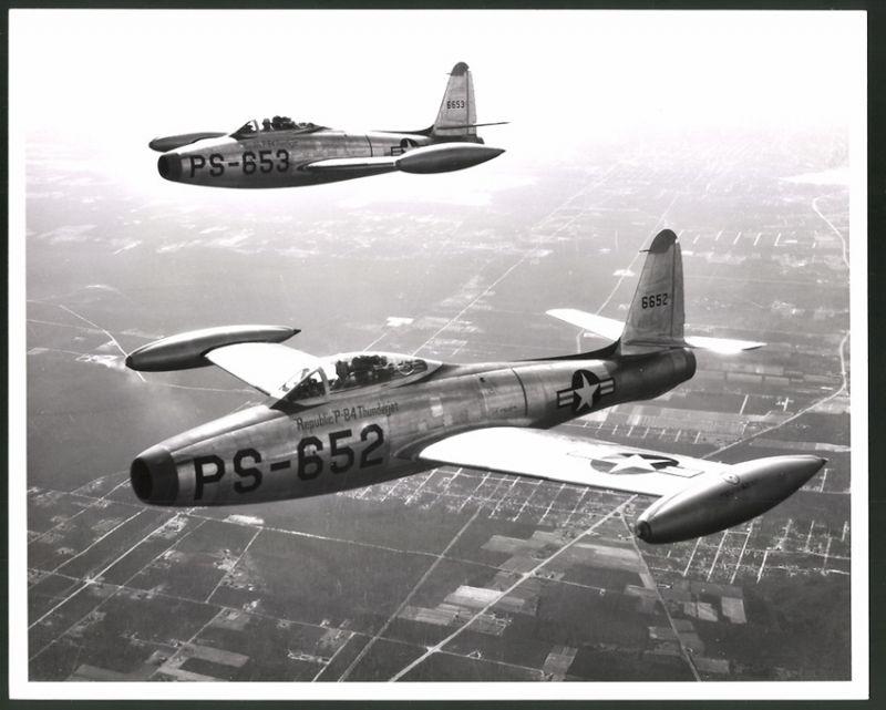 Fotografie Flugzeug Republic F-84 Fs-026 Der Usaf Großformat 25 X 20cm Luftfahrt & Zeppelin
