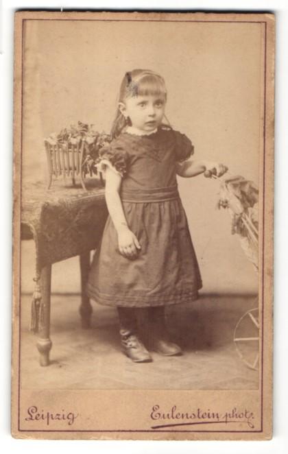 Fotografie Eulenstein, Leipzig, niedliches blondes Mädchen mit langem Haar im hübschen Kleidchen mit Puppenwagen