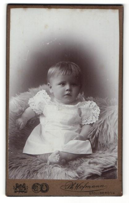 Fotografie Ph. Hofmann, Stollberg i. S., Portrait zuckersüsses blondes Mädchen im weissen Kleidchen mit Stickerei