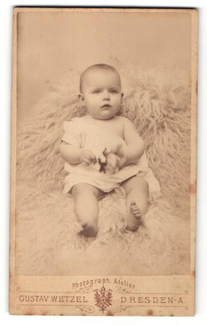 Fotografie Gustav Wetzel, Dresden-A., bezaubernd süsses Baby mit Spielzeug im weissen Hemdchen